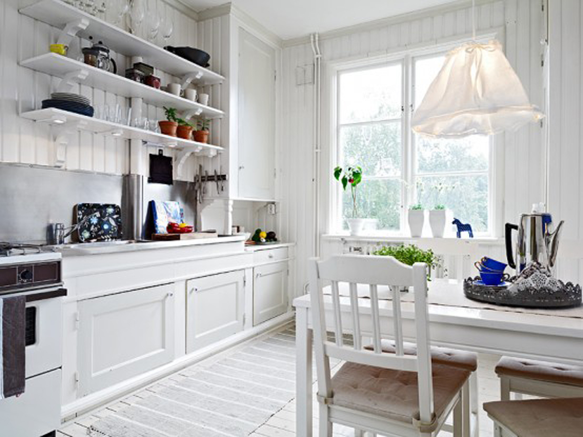 Traditional white kitchens for apartment design