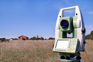 Total station set in the field